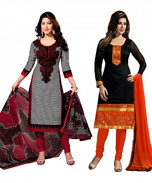 COMBO ONE RED & BLACK PRINTED DRESS MATERIAL AND BLACK & ORANGE PRINTED POLLYCOTTON DRESS MATERIAL @ Rs1050.00