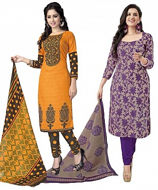 COMBO ONE ORANGE & BLACK PRINTED DRESS MATERIAL AND PURPLE & BEIGE POLLYCOTTON PRINTED DRESS MATERIAL @ Rs1050.00