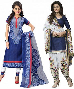 COMBO ONE BLUE PRINTED DRESS MATERIAL AND NAVY BLUE & WHITE POLLYCOTTON PRINTED DRESS MATERIAL @ Rs1050.00
