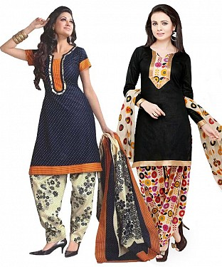 COMBO ONE NAVY BLUE & CREAM PRINTED DRESS MATERIAL AND BLACK & MULTY PRINTED POLLYCOTTON DRESS MATERIAL @ Rs1050.00