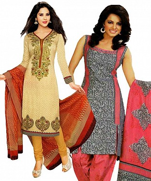 COMBO ONE MULTY PRINTED DRESS MATERIAL AND GREY & PINK POLLYCOTTON PRINTED DRESS MATERIAL @ Rs1050.00