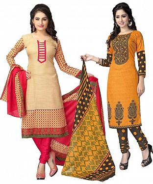 COMBO ONE CREAM & PINK PRINTED DRESS MATERIAL AND RANGE & BLACK POLLYCOTTON PRINTED DRESS MATERIAL @ Rs1050.00