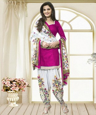Pink & Off White Printed Polly Cotton Dress Material @ Rs679.00