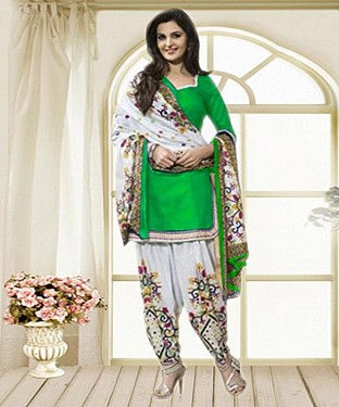 Green & Off White Printed Polly Cotton Dress Material @ Rs679.00