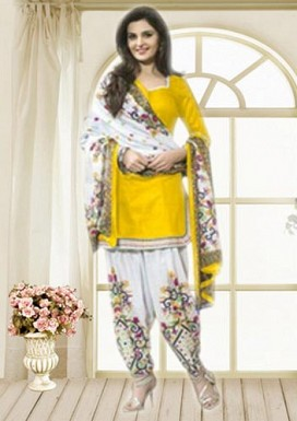 Yellow & Off White Printed Polly Cotton Dress Material @ Rs679.00