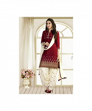 Maroon & Off White Printed Polly Cotton Dress Material @ Rs679.00