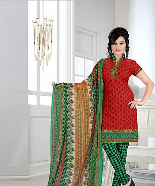 Red & Green Printed Crepe Dress Material @ Rs679.00