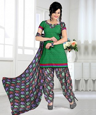 Green & Multy Printed Crepe Dress Material @ Rs679.00