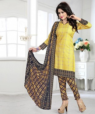 Yellow & Multy Printed Crepe Dress Material @ Rs679.00