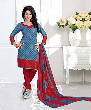 Blue & Red Printed Crepe Dress Material @ Rs679.00
