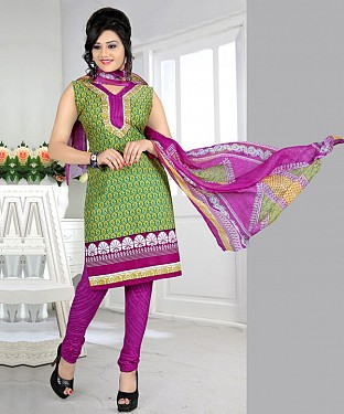 Green & Purple Printed Crepe Dress Material @ Rs679.00