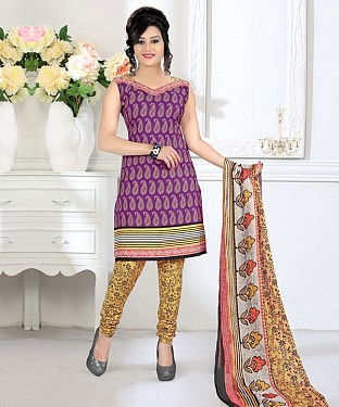 Purple & Yellow Printed Crepe Dress Material @ Rs679.00