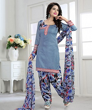 Light Blue & Multy Printed Crepe Dress Material @ Rs679.00