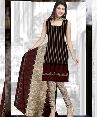 Black & Cream Printed Crepe Dress Material @ Rs679.00
