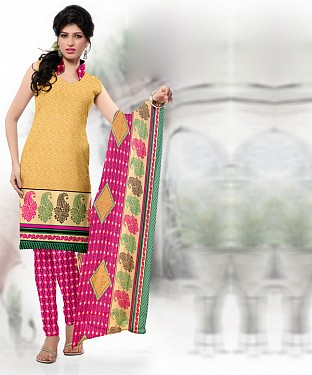 Yellow & Pink Printed Crepe Dress Material @ Rs679.00