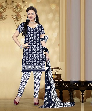 Navy Blue & White Printed Crepe Dress Material @ Rs679.00