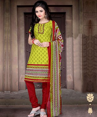 Lime Green & Red Printed Crepe Dress Material @ Rs679.00