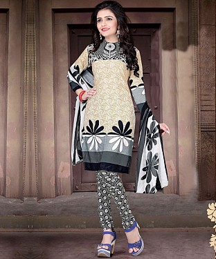 Cream & Black Printed Crepe Dress Material @ Rs679.00