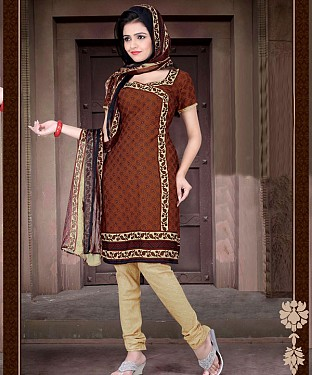 Brown & Cream Printed Crepe Dress Material @ Rs679.00