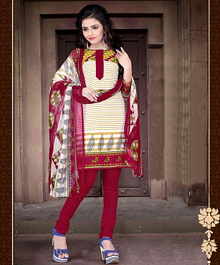 Cream & Maroon Printed Crepe Dress Material @ Rs679.00