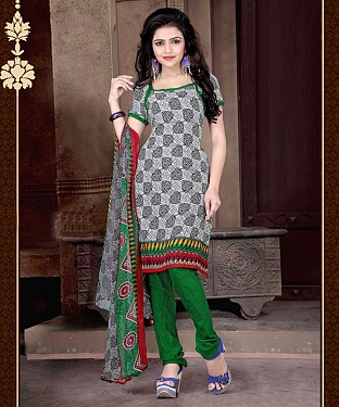 Black-White & Green Printed Crepe Dress Material @ Rs679.00