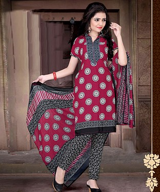 Maroon & Black Printed Crepe Dress Material @ Rs679.00