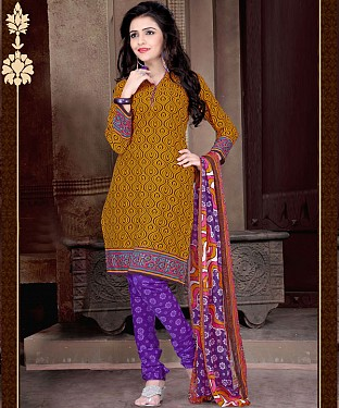 Dark Yellow & Purple Printed Crepe Dress Material @ Rs679.00