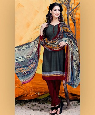 Grey & Maroon Printed Crepe Dress Material @ Rs679.00
