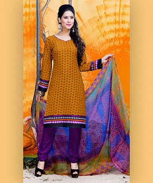 Yellow & Purple Printed Crepe Dress Material@ Rs.679.00