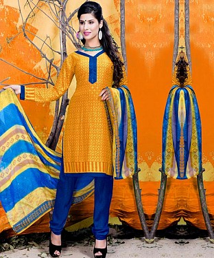 Yellow & Blue Printed Crepe Dress Material @ Rs679.00
