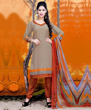 Cream & Orange Printed Crepe Dress Material @ Rs679.00
