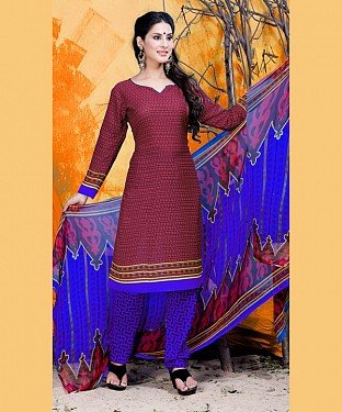 Maroon & Blue Printed Crepe Dress Material @ Rs679.00