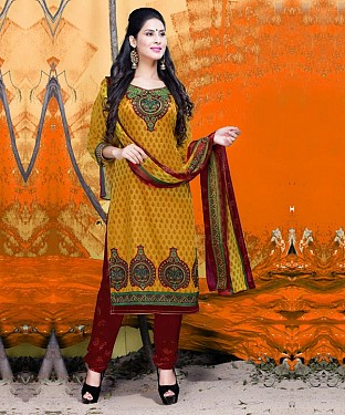 Yellow & Maroon Printed Crepe Dress Material @ Rs679.00
