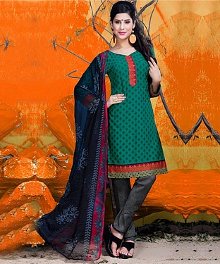 Rama Green & Grey Printed Crepe Dress Material @ Rs679.00