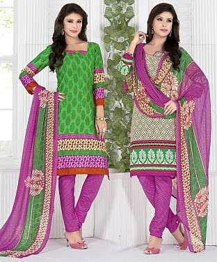 Green & Multy Printed Crepe Dress Material @ Rs1112.00