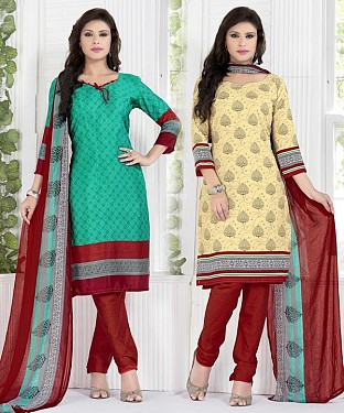Rama Green & Cream Printed Crepe Dress Material @ Rs1112.00