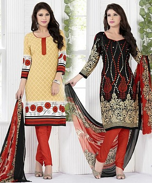 Cream & Black Printed Crepe Dress Material@ Rs.1112.00