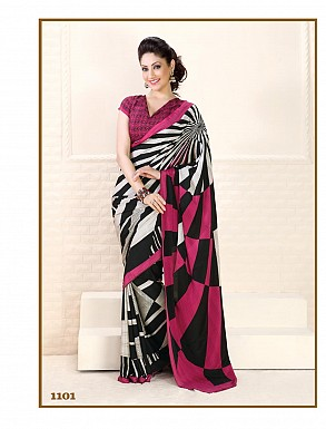 Thankar Pink Crepe Printed Saree @ Rs988.00