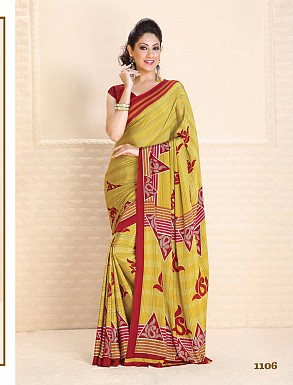 Thankar Yellow Crepe Printed Saree @ Rs988.00