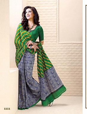 Thankar Grey And Green Crepe Printed Saree @ Rs988.00