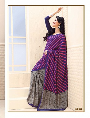 Thankar Blue And Grey Crepe Printed Saree @ Rs988.00