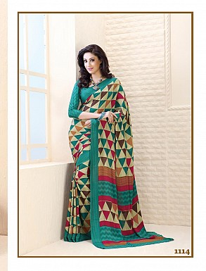Thankar Aqua And Cream Crepe Printed Saree @ Rs988.00