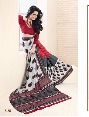 Thankar Red And White Crepe Printed Saree @ Rs988.00