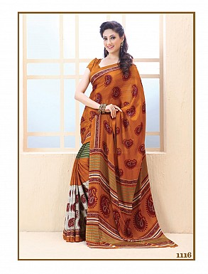 Thankar Orange Crepe Printed Saree @ Rs988.00