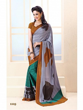 Thankar Violet And Aqua Crepe Printed Saree @ Rs988.00