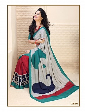 Thankar Off White And Red Crepe Printed Saree @ Rs988.00