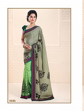 Thankar Parrot and Grey Crepe Printed Saree @ Rs988.00