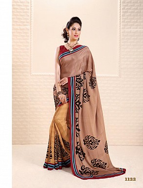 Thankar Cream And  Orange Crepe Printed Saree @ Rs988.00