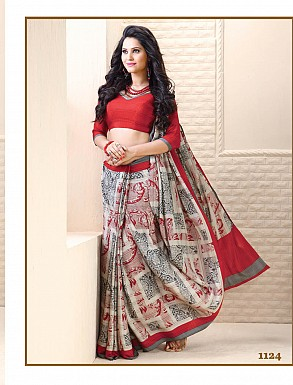 Thankar White And Red Crepe Printed Saree @ Rs988.00
