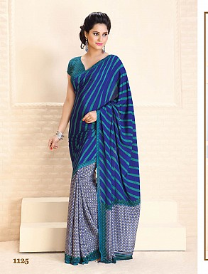 Thankar Blue Crepe Printed Saree @ Rs988.00